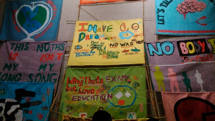Young people produced banners in a Masterclass with artist Jeremy Deller at Central St Martins, University of the Arts London, 2014