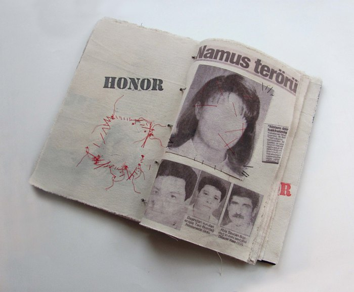 Image: NAMUS / HONOR, 13 pages, 2 hand-­made editions, Ipek Duben, 2013. Courtesy of the Artist.